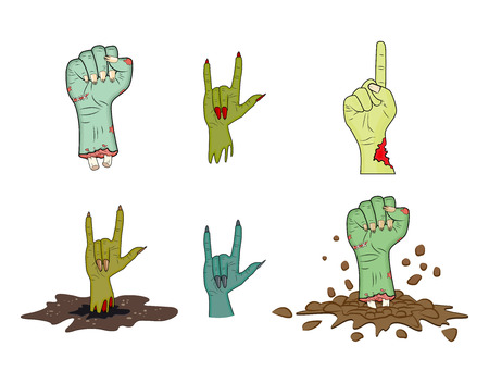 muerte: De Halloween del zombi gesto de la mano set - aislados de dibujos animados ilustraci�n realista. Imagen de miedo gesto monstruo mano. Imagen aislada en el fondo blanco.