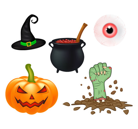 witch hat: Halloween cartoon set, symbols collection. set of objects, pumpkins, witch hat cauldron, and more. Set of cute Halloween elements, objects and icons for your design Illustration
