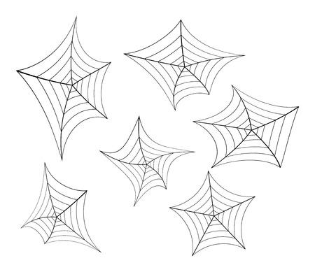 spider web: Halloween spider web, cobweb symbol, icon set.  illustration isolated on white background. Illustration