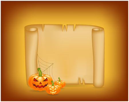 scroll frame: Halloween banner, card with empty paper scroll and pumpkin. Blank ancient scroll of parchment wallpaper, background. Poster or brochure for Halloween party.