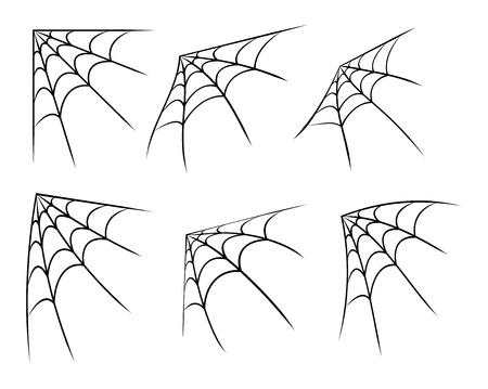 spiders: Halloween corner spider web, cobweb symbol, icon set.  Illustration