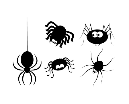 spider cartoon: Spider halloween icon, symbol Silhouette set.