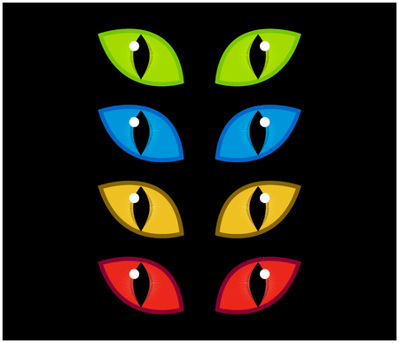 spooky eyes: Halloween spooky eyes vector set isolated on black background. Illustration of Evil, dangerous, wild angry cat iris in darkness Illustration