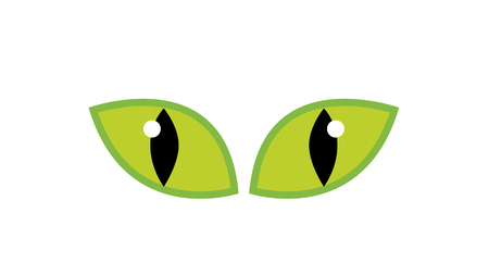 spooky eyes: Halloween green spooky eyes vector isolated on white background. Illustration of Evil, dangerous, wild angry cat iris cartoon