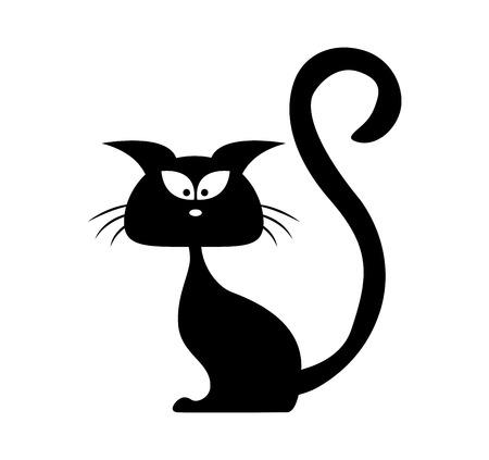 silueta de gato: Halloween de la silueta del vector gato negro. Ilustración clipart dibujos animados aislado en el fondo blanco