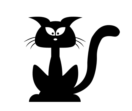 black and white image drawing: Halloween black cat vector silhouette. Cartoon clipart Illustration isolated on white background Illustration