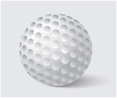 golfball: Golfball realistic vector. Image of single golf equipment, ball illustration isolated on grey background.
