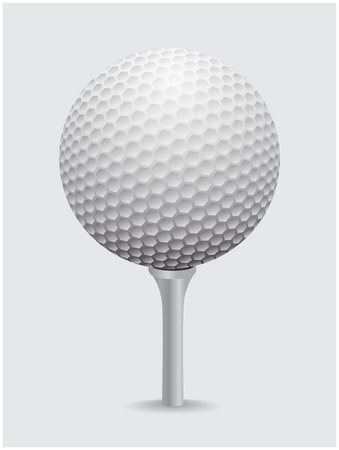 golfball: Golfball realistic vector. Image of single golf equipment on cone ball illustration isolated on grey background.