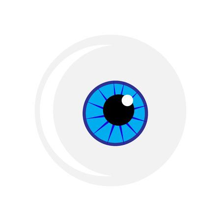 globo ocular: S�mbolo de Halloween globo ocular del vector. Ilustraci�n del ojo azul aislado sobre fondo blanco. Vectores