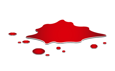 blood puddle, murder place, drop, blots, stain, red plash od blood. Vector illustration isolated on white background.