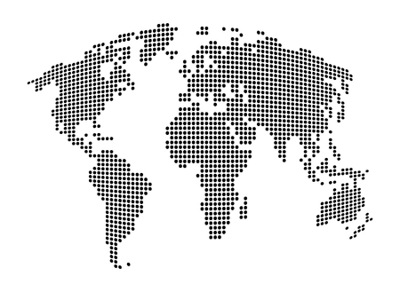 south asia: World map - abstract dotted vector background.  Black and white silhouette illustration