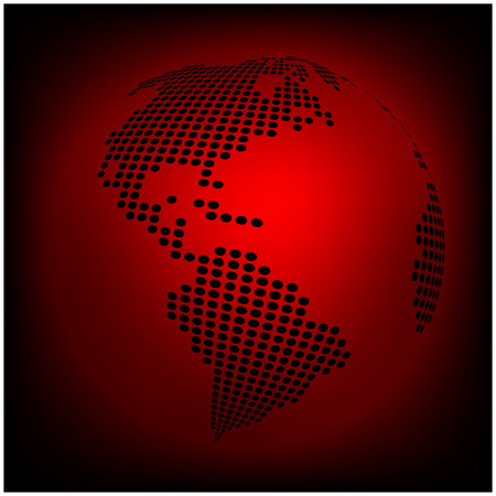 red earth: Globe earth world map - abstract dotted vector background.  Red wallpaper illustration Illustration