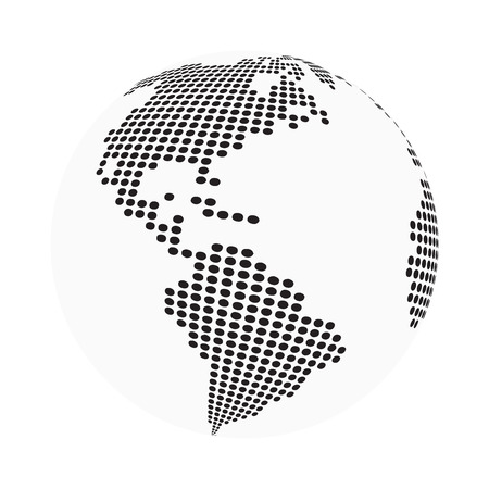 earth map: globe earth world map - abstract dotted vector background.  Black and white silhouette illustration