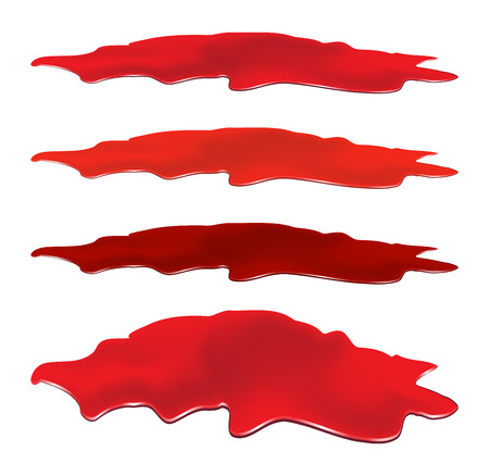 Blood puddle set, red drop, blots, stain, plash od blood. Vector illustration isolated on white background. Illustration