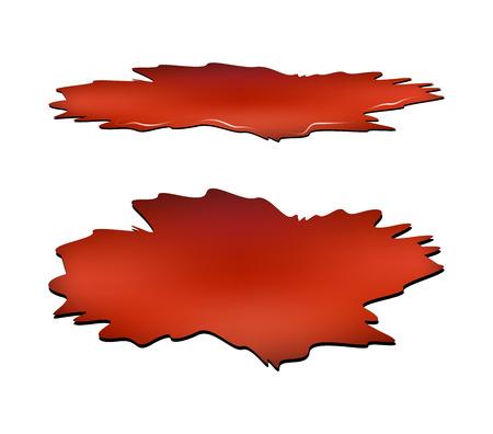 od: Blood puddle set, red drop, blots, stain, plash od blood. Vector illustration isolated on white background. Illustration