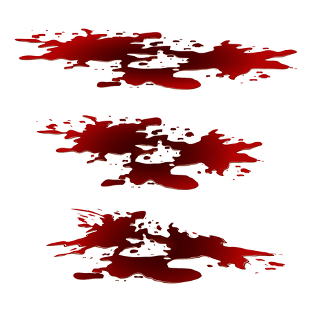 Blood puddle, red drop, blots, stain, plash od blood. Vector illustration isolated on white background.