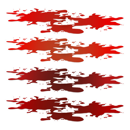 od: Blood puddle, red drop, blots, stain, plash od blood. Vector illustration isolated on white background.