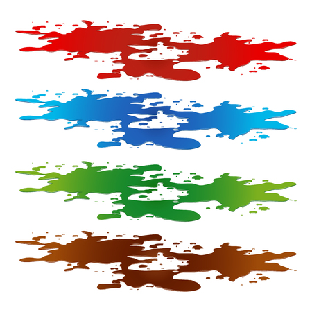 Puddle of paint spill. blood, toxic, water and chocolate stain, plash, drop. Vector illustration isolated on the white background