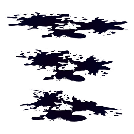 slick: Puddle of oil slick spill clipart. Black silhouette stain, plash, drop. Vector illustration isolated on the white background Illustration
