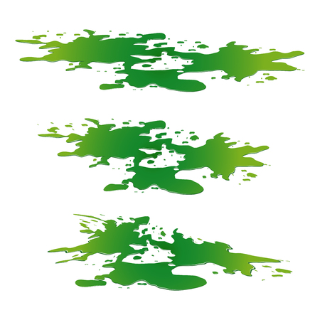 toxic accident: Puddle of toxic substance spill. Green chemical stain, plash, drop. Vector illustration isolated on the white background Illustration