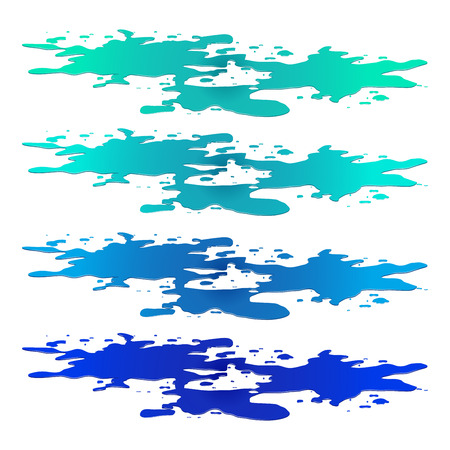 wet paint: Puddle of water spill clipart. Blue stain, plash, drop. Vector illustration isolated on the white background