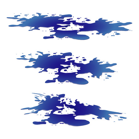 spill: Puddle of water spill clipart. Blue stain, plash, drop. Vector illustration isolated on the white background
