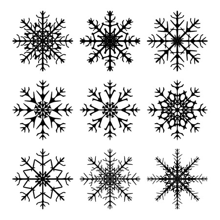 flakes: Snowflake silhouette icon, symbol, design. Winter, christmas vector illustration isolated on the white background. Illustration