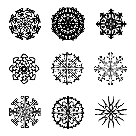 isolated on a white background: Snowflake silhouette icon, symbol, design. Winter, christmas vector illustration isolated on the white background. Illustration
