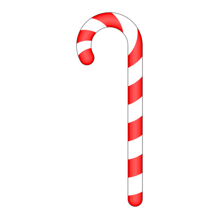 sugar cane: Candy cane striped in Christmas colours. Vector illustration isolated on a white background.
