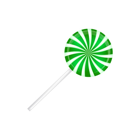 Lollipop striped in Christmas colours. Spiral sweet candy with green and white stripes. Vector illustration isolated on a white background. Stock Illustratie