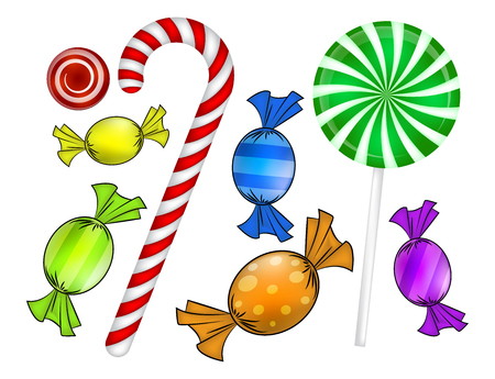 sweetmeats: Christmas candy set. Colorful wrapped sweet, lollipop, cane. Vector illustration isolated on a white background.
