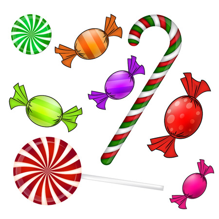 Christmas candy set. Colorful wrapped sweet, lollipop, cane. Vector illustration isolated on a white background.