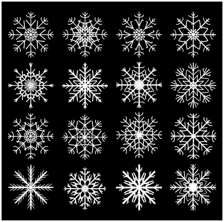 Snowflake silhouette icon, symbol, design set. Winter, christmas vector illustration isolated on black background. 向量圖像