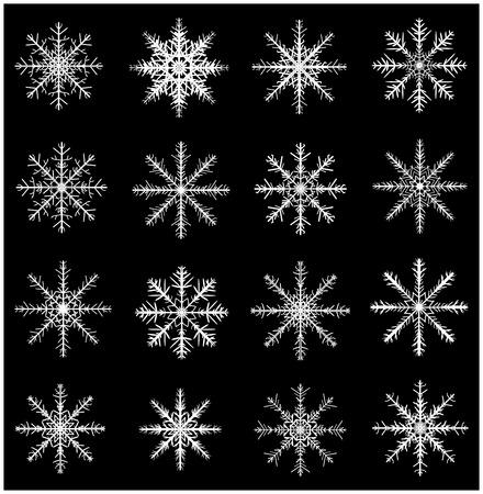copo de nieve: Icono del copo de nieve silueta, símbolo, diseño conjunto. Invierno, navidad ilustración vectorial aislados en fondo negro. Vectores