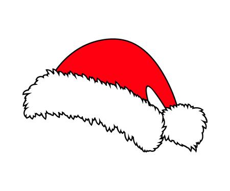 Santa klobouk, ikona vánoční čepice, symbolů, výprava. Zimní vektorové ilustrace na bílém pozadí. Ilustrace