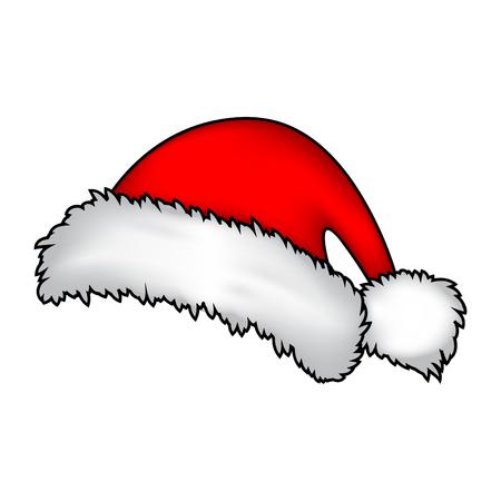 winter hat: Santa hat, Christmas cap icon, symbol, design. Winter vector illustration isolated on white background.