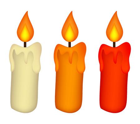 Christmas candle set, burning wax candle icon, symbol, design. Winter vector illustration isolated on white background.