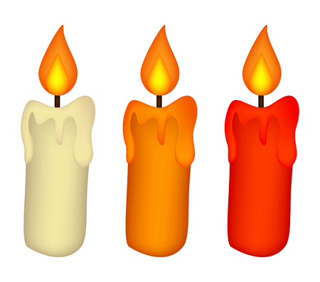 Christmas candle set, burning wax candle icon, symbol, design. Winter vector illustration isolated on white background.