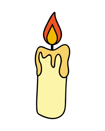 Christmas candle, burning wax candle icon, symbol, design. Winter vector illustration isolated on white background.