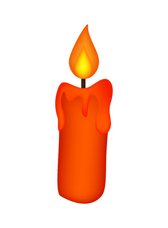 burning: Christmas candle, burning wax candle icon, symbol, design. Winter vector illustration isolated on white background.