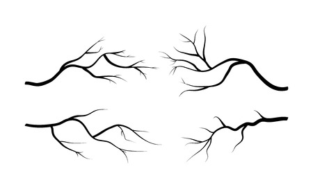 arboles secos: Conjunto de la silueta rama icono, símbolo, diseño. ilustración vectorial aislado sobre fondo blanco. Vectores