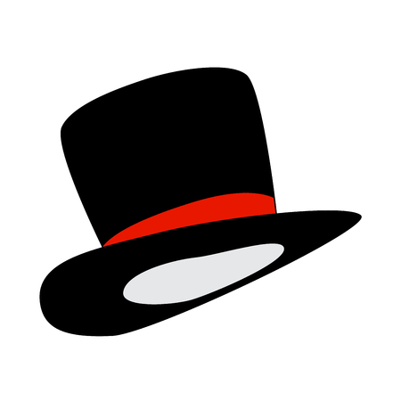 magic hat, gentleman hat cylinder with ribbon icon, symbol, design. vector illustration isolated on white background.