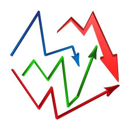 decrease: increase, decrease Arrow symbol set, icon business concept. Vector illustration isolated on white background. Illustration