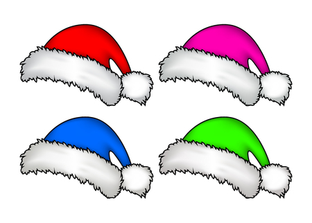 christmas cap: Santa hat, Christmas cap icon set, symbol, design. Winter vector illustration isolated on white background.