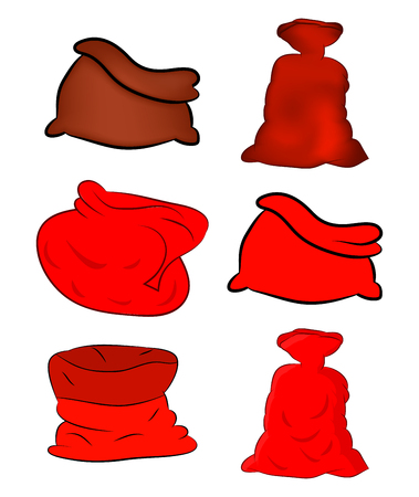 Santa, money bag, Christmas empty sack icon set , symbol, design. Winter vector illustration isolated on white background. 版權商用圖片 - 48286683