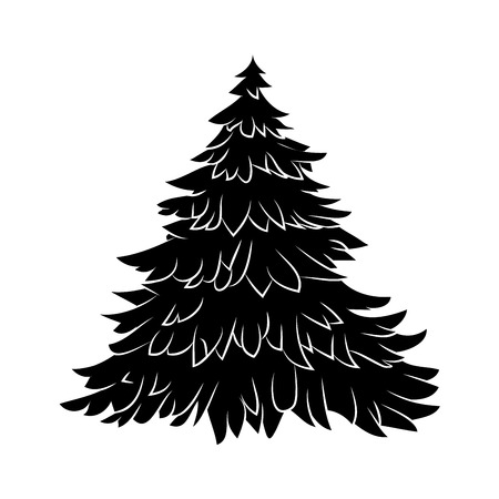 Christmas tree silhouette, cartoon design for card,  icon, symbol. Winter vector illustration isolated on white background. 版權商用圖片 - 48303030