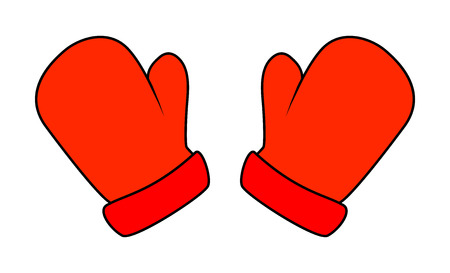 mittens: Christmas mittens, cartoon gloves design, icon, symbol. Winter vector illustration isolated on white background. Illustration