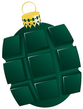 hand grenade: christmas bauble hand grenade shaped, christmas tree ball,design  xmas tree bauble isolated on white background Stock Photo