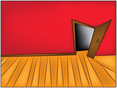 door to door: Mystery Room cartoon vector Illustration of home or office corridor and open door. Illustration