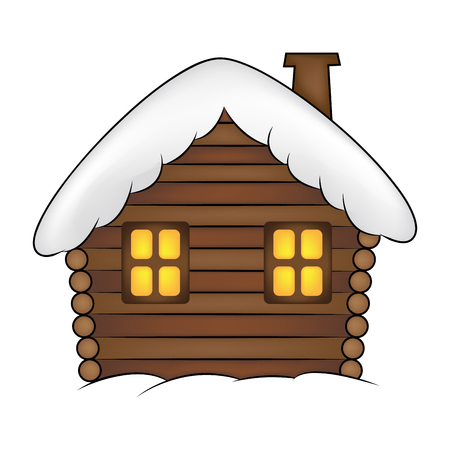 House with snow cartoon illustration. Winter snowy Christmas home, cottage isolated on white background.